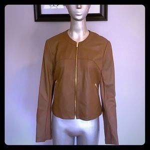 Via Spiga Collarless Leather Jacket Medium: NWT